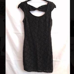 Black Lace Cap Sleeve Dress